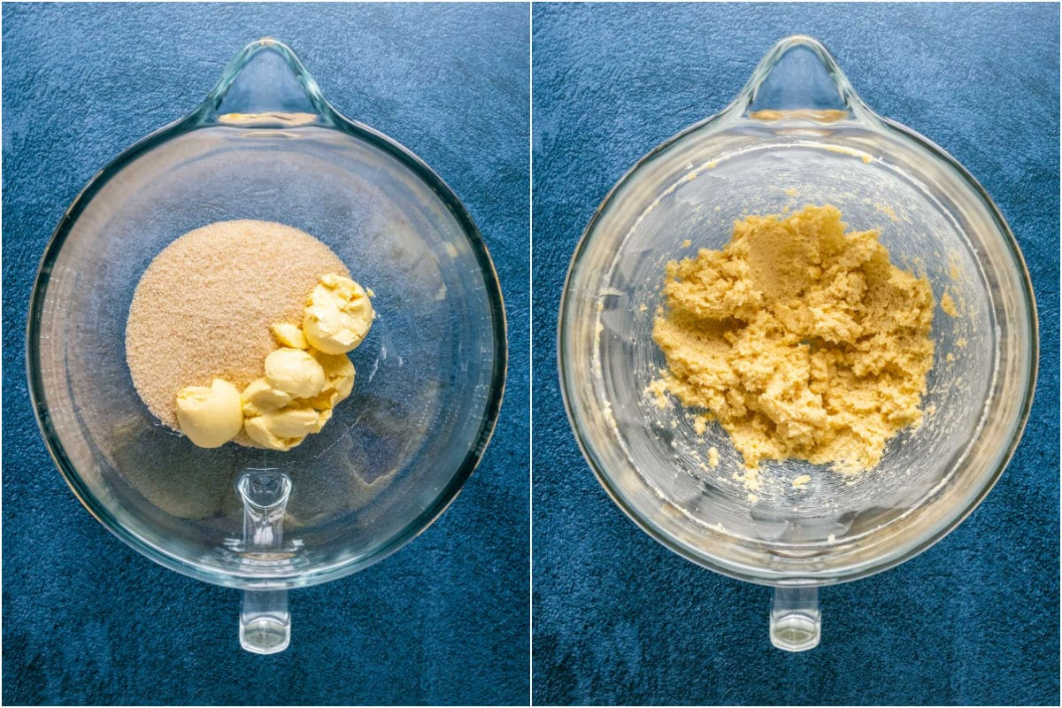 Two photo collage showing vegan butter and brown sugar added to stand mixer and creamed together.