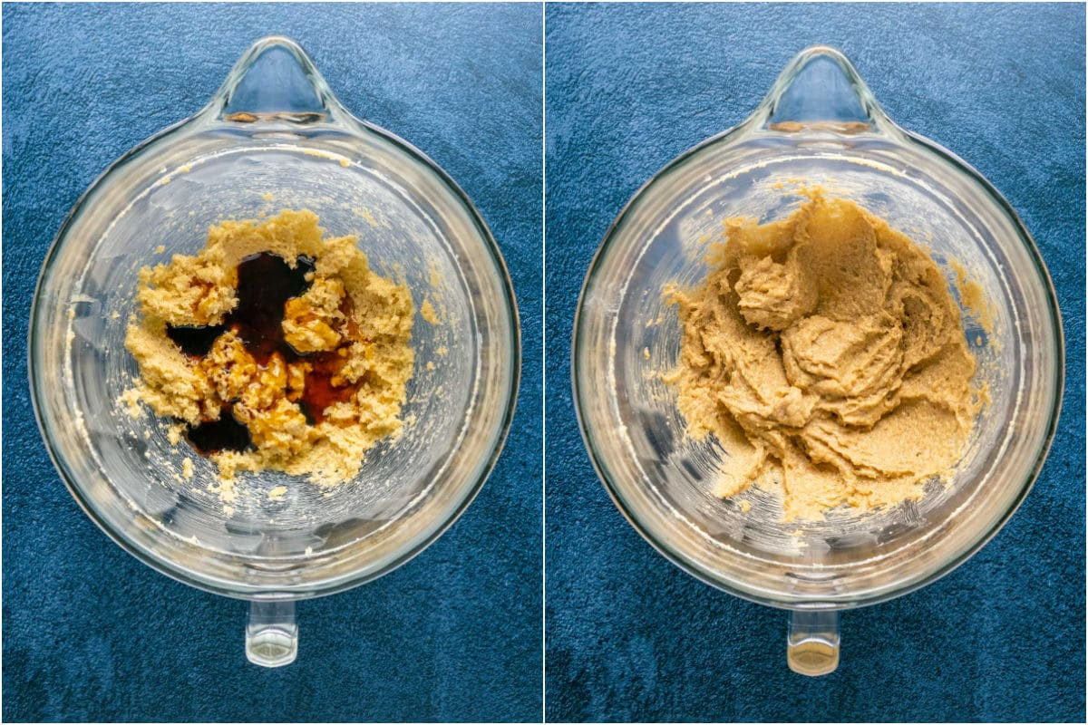 Two photo collage showing maple syrup, molasses and vanilla added to stand mixer and mixed in.