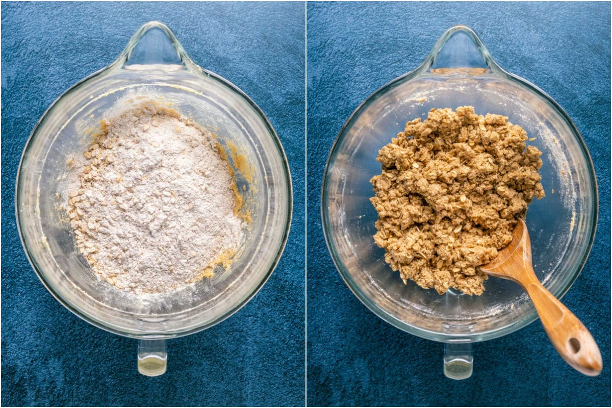 Two photo collage showing dry ingredients added to wet and mixed into a crumbly cookie dough.