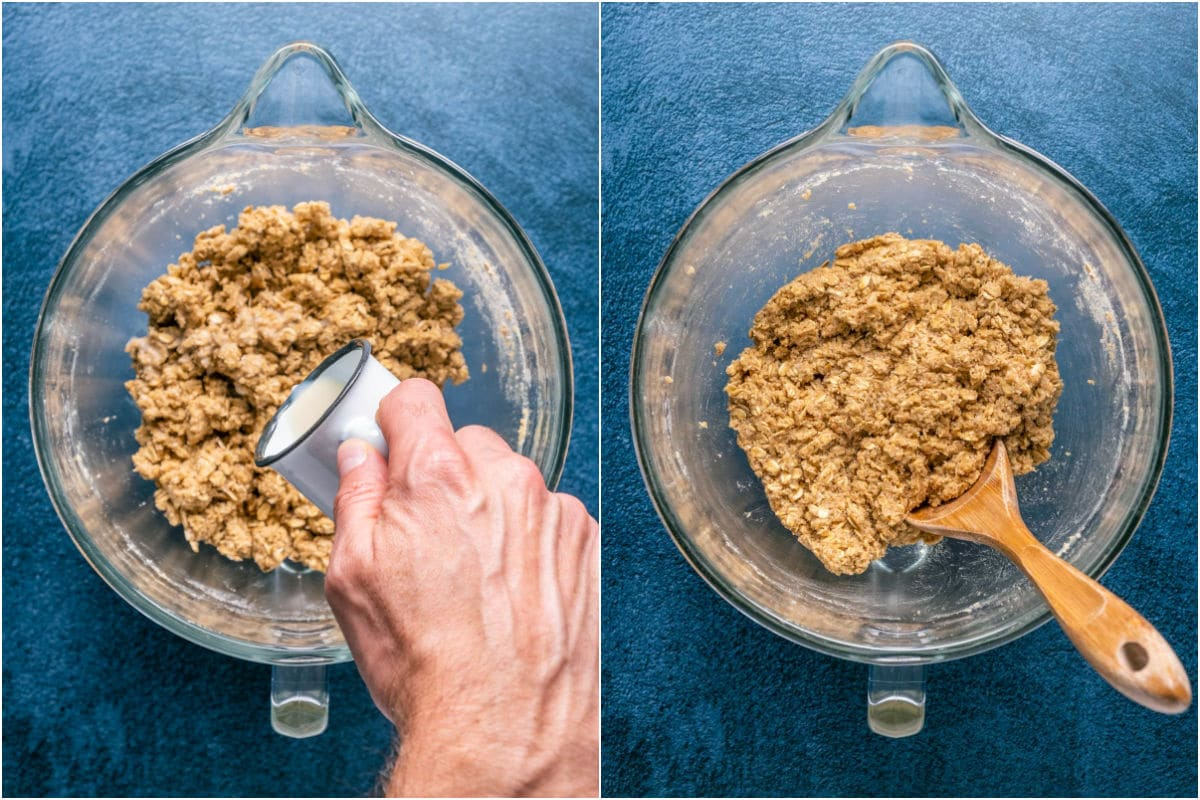 Two photo collage showing soy milk added to cookie dough and mixed in.