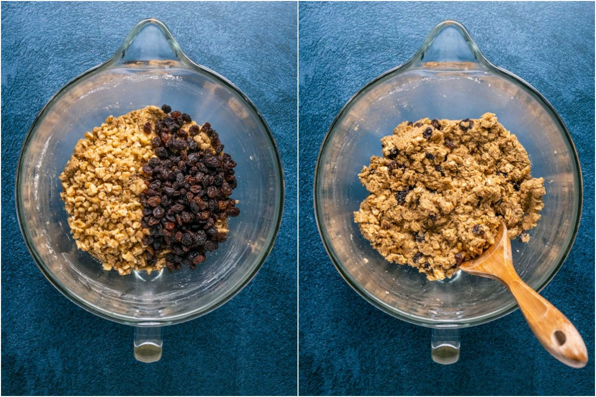 Two photo collage showing raisins and chopped walnuts added to cookie dough and mixed in.