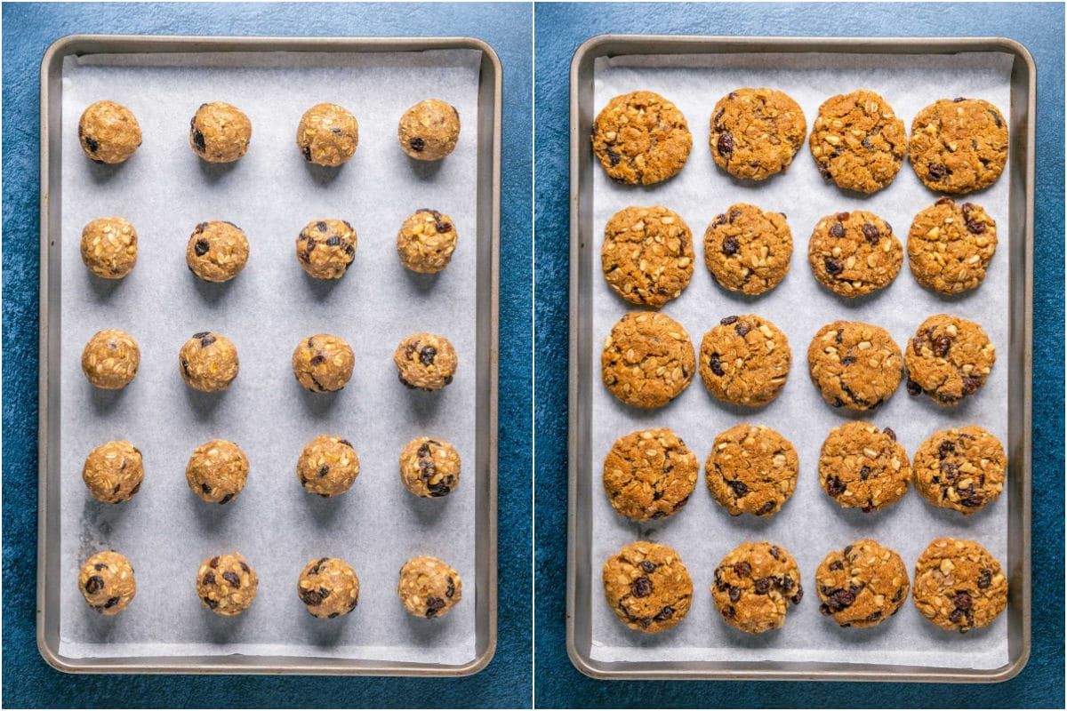 Two photo collage showing oatmeal raisin cookies before and after baking.